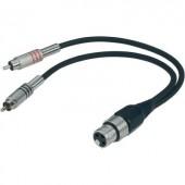 Adapter kábel 60 cm, 2 x RCA dugó/XLR alj, Paccs