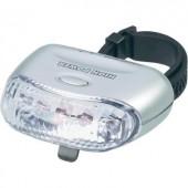 LED-es hátsó kerékpár lámpa, elemes, ezüst, Security Plus