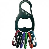 Kulcstartó, fekete, 6 színű karabínerrel NI-KRB-03-01 KeyRack 6 S-Biner NITE Ize