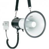 Megafon, kézi mikrofonnal, hordpánttal, beépített hangokkal, SpeaKa JE583BS