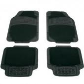 Autós szőnyeg készlet, Deluxe Univerzális Gumi,Textil Fekete