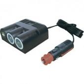 Szivargyújtó elosztó USB töltővel, 2 szivargyújtó aljzat, 2 USB A aljzat 12-24V/5V 2x2500 mA ProCar 67325501