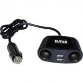 Szivargyújtó elosztó USB töltővel, 2 szivargyújtó aljzat, 2 USB A aljzat 12-24V/5V 2x2 A Eufab 16549