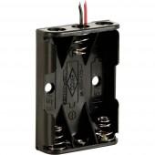 Velleman BH431A Elemtartó 3x Mikro (AAA) Kábeles (H x Sz x Ma) 53 x 38 x 13 mm