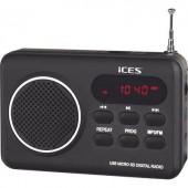 Asztali rádió, hordozható táskarádió USB és SD kártya lejátszással ICES IMPR-112