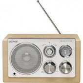 Asztali retro rádió, audio bemenettel, fa hatású Denver TR-61