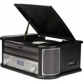 Denver MRD-51 Sztereo berendezés DAB+, CD, Kazetta, Lemezjátszó, AUX, USB, Felvétel funkció 2 x 2.5 W Fekete