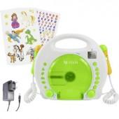 Gyermek CD lejátszó X4 Tech Bobby Joey CD, SD, USB Karaoke funkcióval, Mikrofonnal Fehér, Zöld