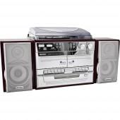 Karcher KA 320 Sztereo berendezés CD, Kazetta, MW, Lemezjátszó, SD, USB, URH, 2 x 2 W Fa, Ezüst