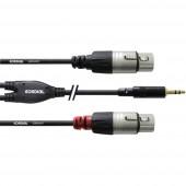 Cordial Audio Átalakító kábel [1x Jack dugó, 3,5 mm-es - 2x XLR alj] 1.80 m Fekete