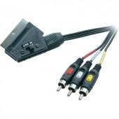 SCART - Kompozit AV kábel, 1x SCART dugó - 3x RCA dugó, 2 m, fekete, SpeaKa Professional