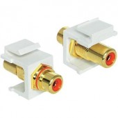 Átalakító adapter RCA alj/F alj, piros, aranyozott