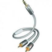 Jack - RCA audio kábel, 1x 3,5 mm jack dugó - 2x RCA dugó, 3 m, aranyozott, fehér/ezüst, Inakustik 671936
