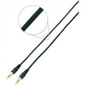 Jack audio kábel, 1x 3,5 mm jack dugó - 1x 3,5 mm jack dugó, 2 m, aranyozott, fekete, fonott, SpeaKa Professional 986644
