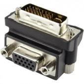 DVI - VGA átalakító adapter, 1x DVI dugó 24+5 pól. - 1x VGA aljzat 90°, fekete, Renkforce