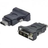 DVI - HDMI átalakító adapter, 1x DVI dugó 18+1 pól. - 1x HDMI aljzat, fekete, Digitus