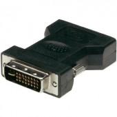DVI - VGA átalakító adapter, 1x DVI dugó 24+5 pól. - 1x VGA aljzat, fekete, Digitus