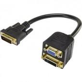 DVI - VGA átalakító adapter, 1x DVI dugó 24+5 pól. - 1x VGA aljzat, 1x DVI aljzat 24+5 pól., fekete, Renkforce