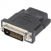DVI - HDMI átalakító adapter, 1x DVI dugó 24+1 pól. - 1x HDMI aljzat, fekete, Renkforce