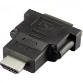 HDMI - DVI átalakító adapter, 1x HDMI dugó - 1x DVI aljzat 24+1 pól., aranyozott, fekete, Renkforce