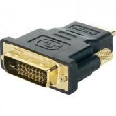 HDMI - DVI átalakító adapter, 1x HDMI dugó - 1x DVI dugó 24+1 pól., aranyozott, fekete, Renkforce