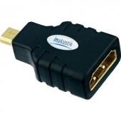 HDMI átalakító adapter, 1x micro HDMI D dugó - 1x HDMI aljzat, aranyozott, fekete, Inakustik