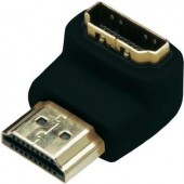 HDMI könyök adapter, 1x HDMI dugó - 1x HDMI aljzat 90°, aranyozott, fekete, Digitus