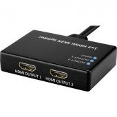 HDMI switch, 2 portos HDMI elosztó (1xHDMI bemenet - 2xHDMI kimenet) Ultra HD-re alkalmas Basetech 1490514