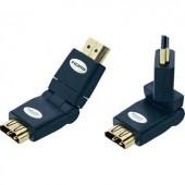 HDMI könyök adapter, 1x HDMI dugó - 1x HDMI aljzat 90°, aranyozott, fekete, High Speed-HDMI eternettel, Inakustik