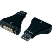 DisplayPort - DVI átalakító adapter, 1x DisplayPort dugó - 1x DVI aljzat 24+5 pól., fekete, Digitus