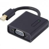 DisplayPort - VGA átalakító adapter, 1x mini DisplayPort dugó - 1x VGA aljzat, aranyozott, fekete, Renkforce