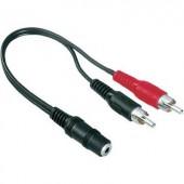 RCA/jack átalakító kábel, 2 db RCA dugóról 3,5 mm-es jack hüvelyre, 0,1 m, Hama
