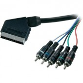 SCART - Component AV kábel, 1x SCART dugó - 5x RCA dugó, 2,5 m, fekete, SpeaKa Professional