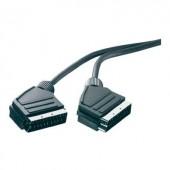SCART AV kábel, 1x SCART dugó - 1x SCART dugó, 1,5 m, fekete, SpeaKa Professional