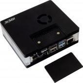 Joy-it RB-MULTIMEDIACASE01 SBC ház Alkalmas: Raspberry Pi Levehető GPIO-fedél, Aktív hűtővel, Mágneszárral Fekete, Átlátszó