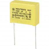 MKP-X2 zavarszűrő kondenzátor, radiális 0,82 µF 275 V/AC 10 % RM 22,5 mm 26 x 11 x 20 mm TRU COMPONENTS MKP-X2