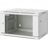 """19"""" -os fali rackszekrény, hálózati szerverszekrény, zárható ajtóval 570 x 370 x 450 mm, szürke 6 HE Intellnet 711722"""