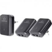 Powerline Network Kit, konnektoros internet átvivő készlet, 500 Mbit/s, Renkforce PL500D Duo
