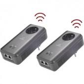 Powerline WLAN Access-Point Starter Kit, konnektoros internet átvivő készlet 1,2 Gbit/s, Renkforce PL1200D AC Starter