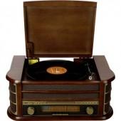 Asztali retro rádió, USB-s retro lemezjátszó, MP3 CD lejátszóval, magnókazetta digitalizálóval Denver MCR-50