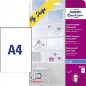 Avery üvegfólia, átlátszó, tintasugaras nyomtatóhoz, 4 db, MD3002