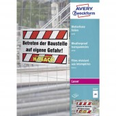 Avery-Zweckform 3487 Vízálló fólia DIN A4 Lézernyomtató, Színes lézernyomtatás, Másoló, Színes fénymásolás Fehér 100 db