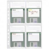 Lefűzhető Floppy lemez tartó tok, tasak 5db-os készlet, 4 lemez részére, átlátszó Durable 5243