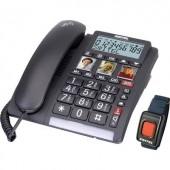 Vezetékes telefon időseknek vészhívó adóval, kihangosítható, Switel TF 560