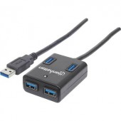 4 port USB 3.0 hub Manhattan Fekete