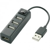 4 portos USB 2.0 hub, fekete, Renkforce Slim