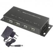 4 portos USB 2.0 hub, fém ház, falra szerelhető, fekete, Renkforce 1610328