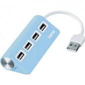 4 részes USB 2.0 elosztó hub, kék, Hama 12179