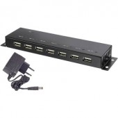 7 port USB 2.0 hub, fém ház, falra szerelhető, fekete, Renkforce