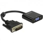 DVI - VGA átalakító adapter, 1x DVI aljzat 24+1 pól. - 1x VGA aljzat, fekete, Delock